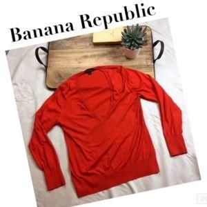 Banana Republic Orange Knit V Neck Sweater